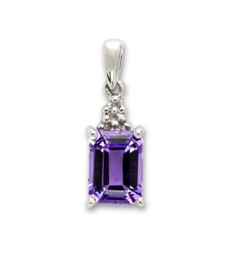 Purple Rectangle Shaped Amethyst And Diamond Sterling Silver Necklace D3